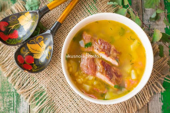 Суп из гороха с колбасой