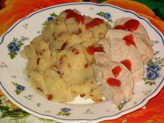 картофельное пюре с грудинкой