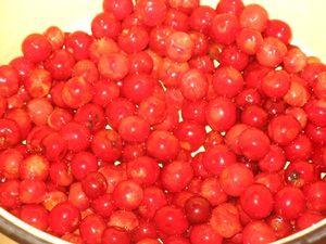слой вишни в кастрюле
