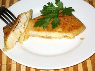 блины с курицей и сыром