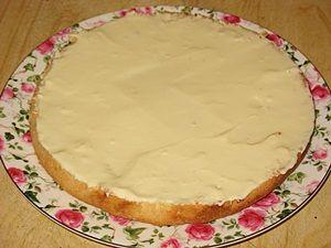 первый бисквитный корж смазан