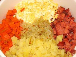 ингредиенты для салата с копчёной горбушей