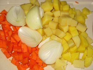 резанные овощи для супа