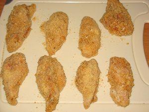 части крылышек перед жаркой во фритюре