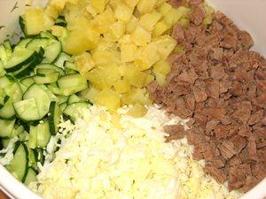 ингредиенты для окрошки с мясом