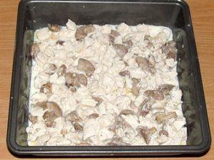 слой курицы с грибами