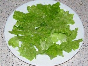 порванные листья салата