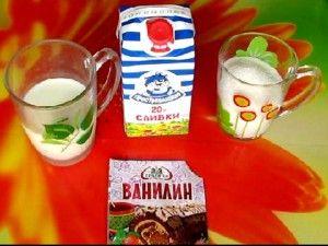 ингредиенты для сливочного мороженого