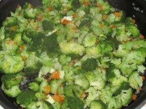 капуста брокколи в сковороде