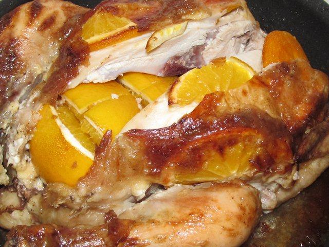 Курица в духовке с апельсином
