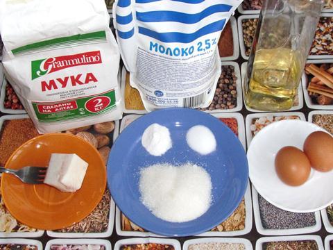ингредиенты для тонких блинчиков на молоке