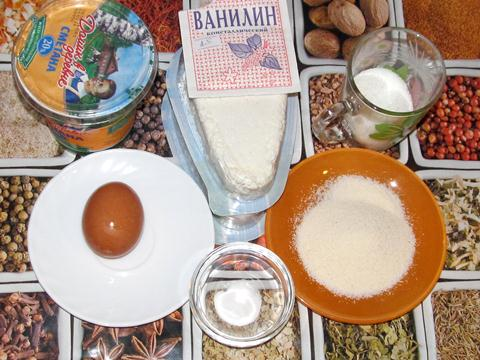 Ингредиенты для творожной запеканки с манкой
