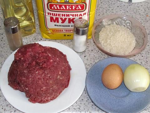 Ингредиенты для ёжиков из фарша с рисом фото