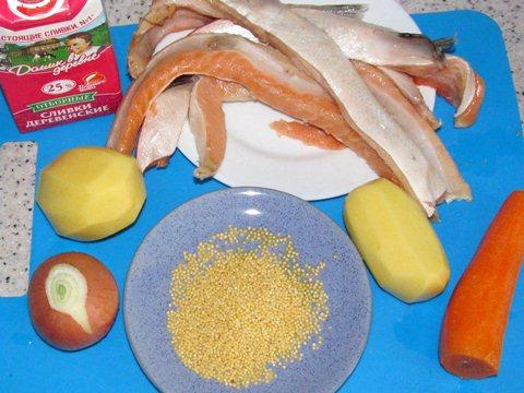 ингредиенты для сливочного супа с сёмгой