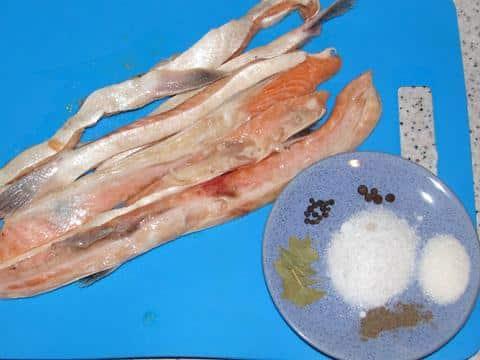 Ингредиенты для солёных брюшек сёмги