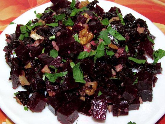 Фото рецепт постного салата чернослив грецкий орех свекла