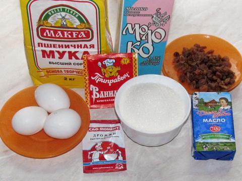 ингредиенты для кулича с изюмом