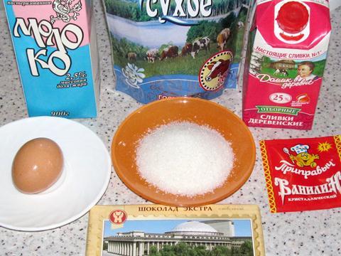 Ингредиенты для мороженого ёжик