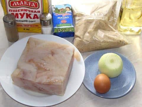 Ингредиенты для рыбных палочек