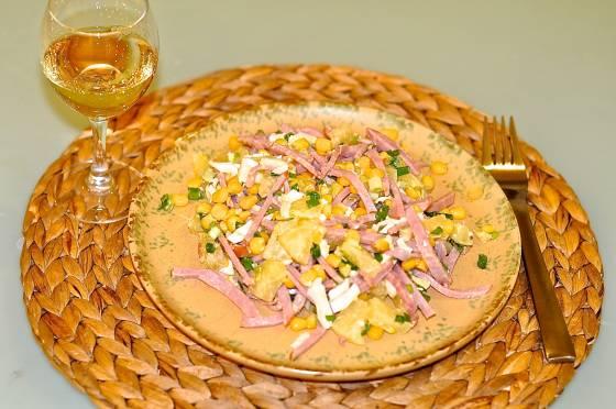 рецепты простых салатов с копченым мясом