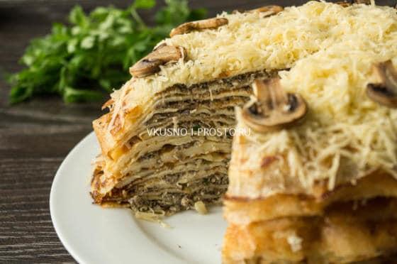 блинный торт с мясом рецепт с фото