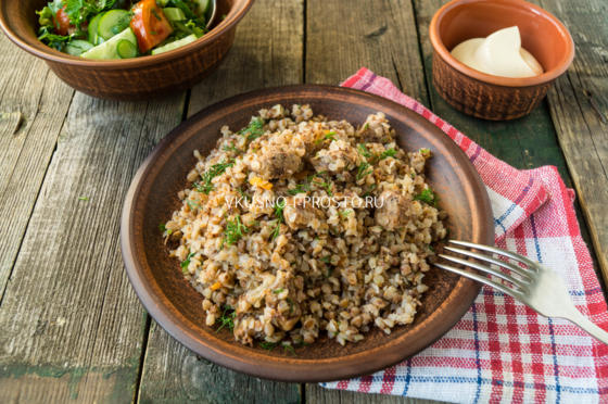гречка по купечески рецепт со свининой на сковороде