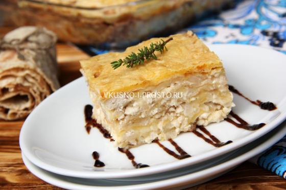 Рецепт быстрой лазаньи из лаваша с соусом бешамель
