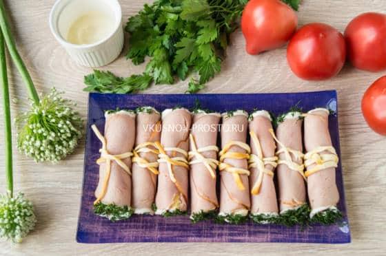 рулетики из ветчины с сыром рецепт с фото