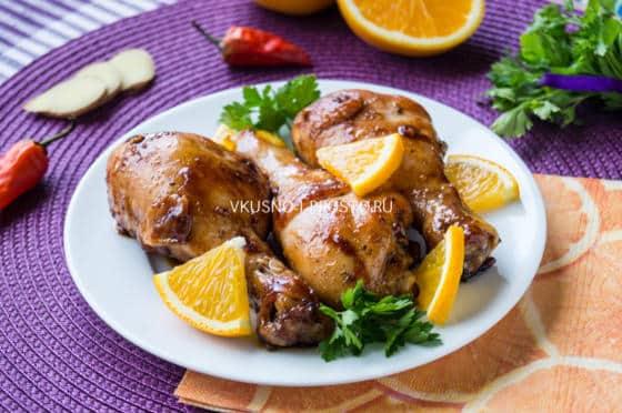 куриные голени с апельсином