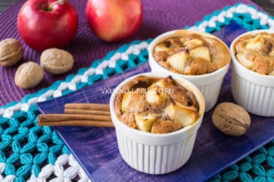 готовый яблочный пудинг