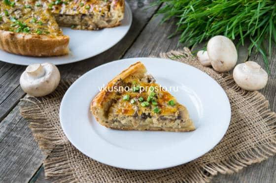 грибной пирог из слоеного теста