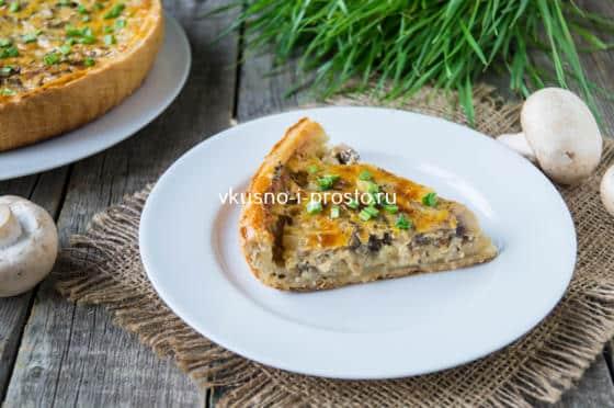 слоеный пирог с сыром и грибами