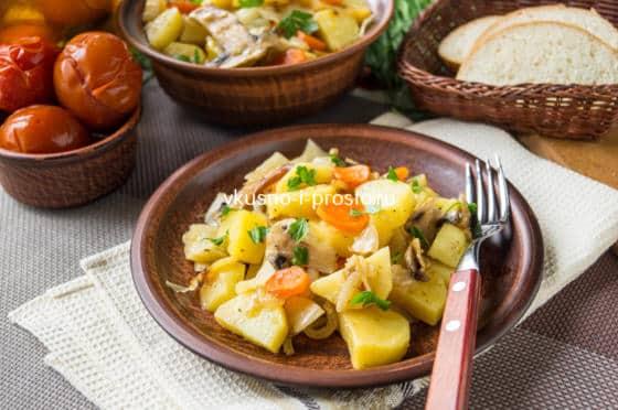 картофель с капустой в духовке