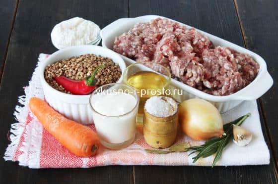Ингредиенты для фрикаделек с гречкой