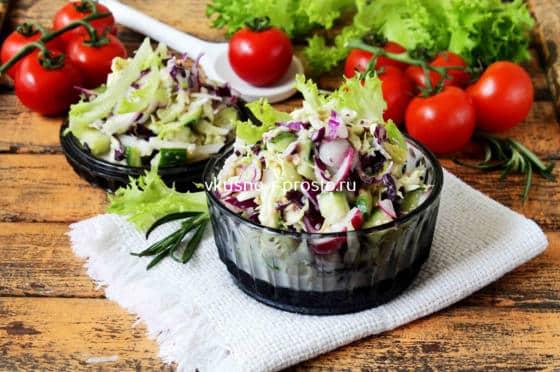 Готовый салат с кабачком и сельдереем