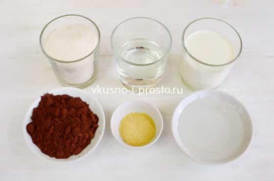 Ингредиенты для зеркально-шоколадной глазури