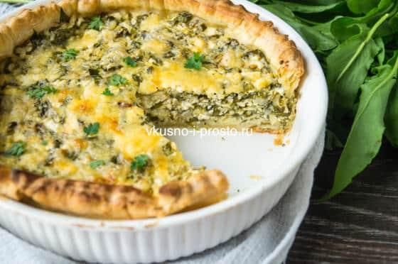 пирог с щавелем и шпинатом