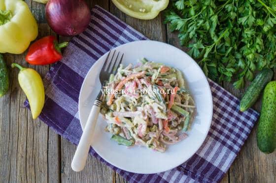 овощной салат с ветчиной
