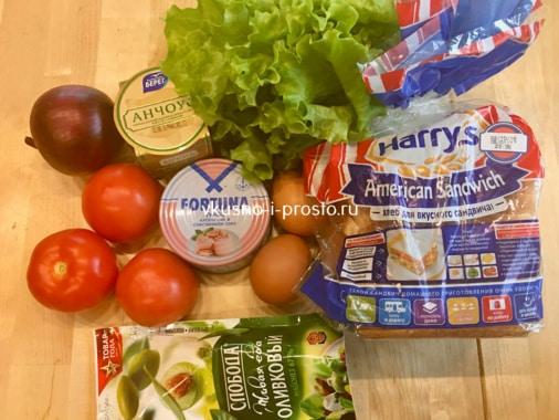 Ингредиенты для сэндвича с тунцом