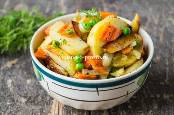 жареная картошка с горошком