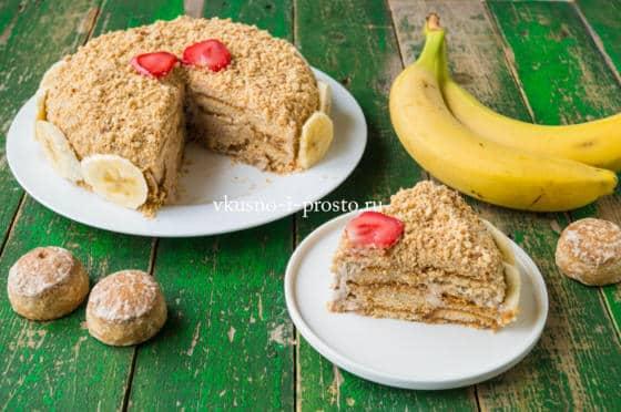 торт из пряников с бананом