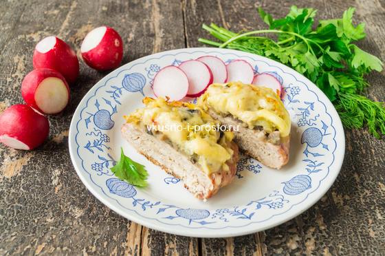 котлеты в духовке с грибами и сыром