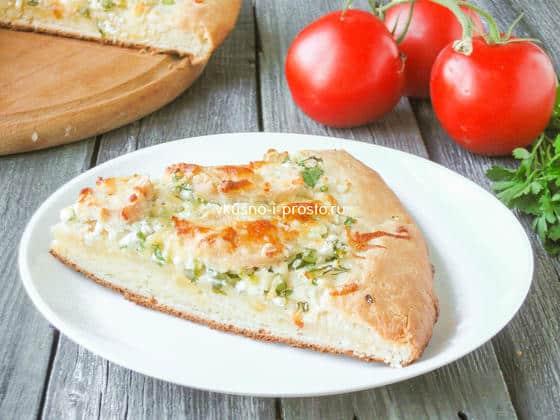пицца с курицей и творогом