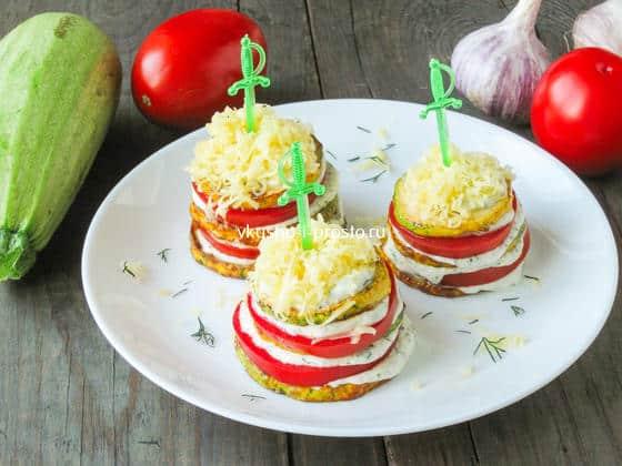 кабачки с помидорами и твердым сыром
