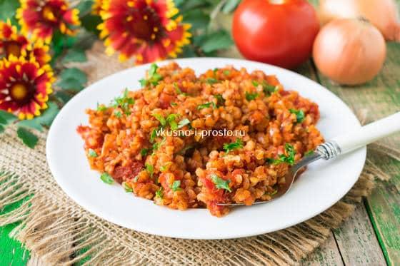 Постная гречка с томатной пастой и соевым соусом - рецепт пошаговый с фото