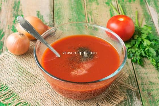 разводим водой томатную пасту