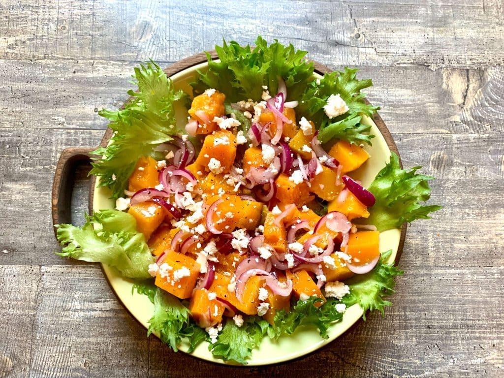 Салат из запеченной тыквы с сытом Фета