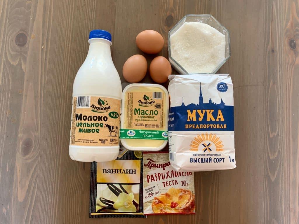 Ингредиенты для вафель на гриле