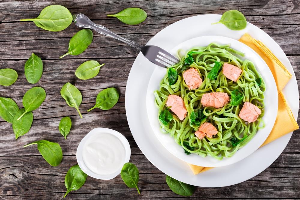зеленая паста со шпинатом