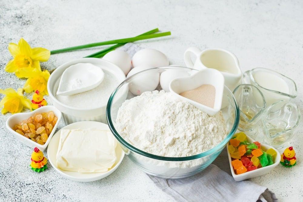 Продукты необходимые для приготовления кулича